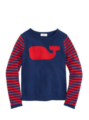 Vineyard Vines Girls Whale Stripe Intarsia Sweater