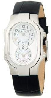 Philip Stein Teslar Dual-Time Stainless Steel, Mother-Of-Pearl & Embossed Leather-Strap Watch
