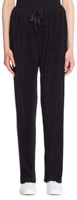 The Row Ocap Drawstring Straight-Leg Plisse Voile Pants