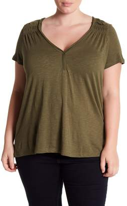 Susina Ruched Shoulder V-Neck Tee (Plus Size)
