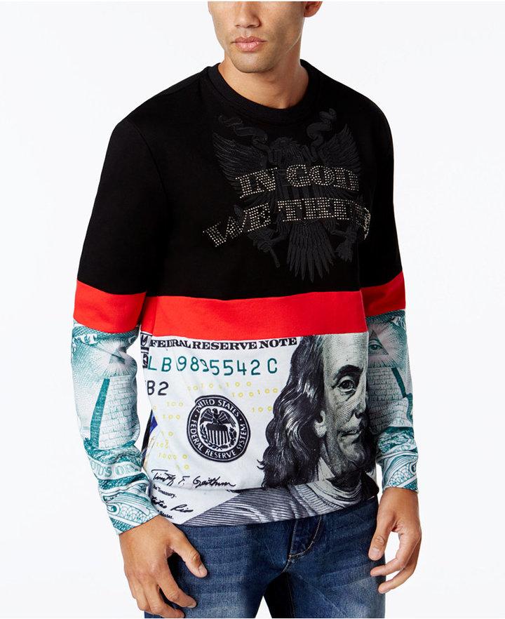 Hudson NYC Men's Colorblock Dollar Sweatshirt
