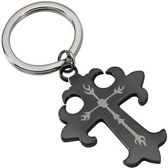 Primal Steel Stainless Steel Polished Black IP-Plated Cross Key Chain