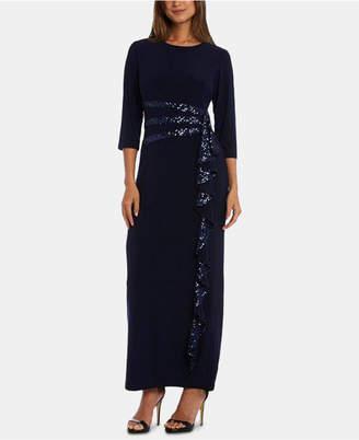 R & M Richards Petite Cascading Sequin-Embellished Dress