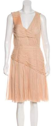 J. Mendel Embellished Pleated Silk Cocktail Dress
