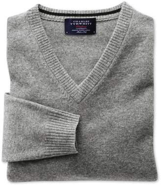 Charles Tyrwhitt Silver Grey Cashmere V-Neck Jumper Size XS