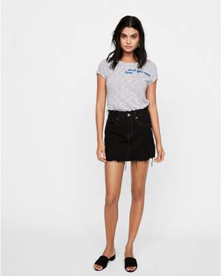 Express slim a-line destroyed denim mini skirt