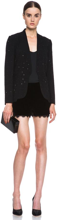 Diane von Furstenberg Paulette Hot Fix Crystal Viscose-Blend Blazer in Black