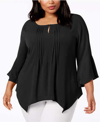 NY Collection Plus Size Pleated Handkerchief-Hem Top
