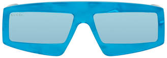 Gucci Blue Rectangular Fashion Show Sunglasses
