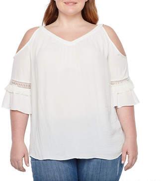 Boutique + + 3/4 Sleeve Cold Shoulder Woven Blouse - Plus