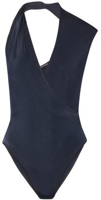 Cushnie et Ochs - Twisted Wrap-effect Stretch-jersey Bodysuit - Navy $595 thestylecure.com