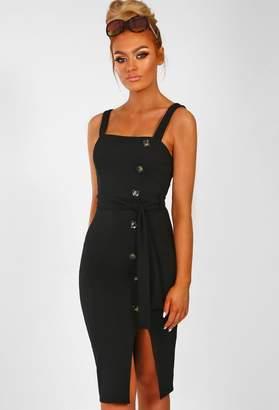 74992c9163 Pink Boutique Brunch   Bubbles Black Button Detail Side Split Midi Dress