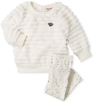 Juicy Couture Newborn Girls) Two-Piece Faux Fur Pullover & Star Leggings Set