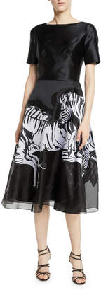 Carolina Herrera Short-Sleeve Fit-and-Flare Cocktail Dress w/ Running Zebra Print
