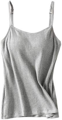 7d5544f0563ad Foxexy Women s Sexy Modal Padded Active Spaghetti Straps Camisole Tanks Tops  White