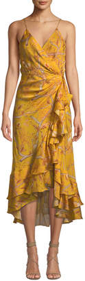 Johanna Ortiz Sleeveless Floral-Print Ruffled Georgette Wrap Dress