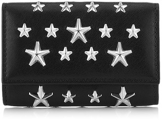 Jimmy Choo NEPTUNE Black Leather Key Holder with Stars