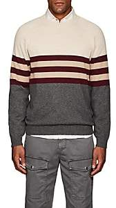 Brunello Cucinelli Men's Colorblocked Cashmere Sweater - Beige, Tan