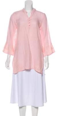Calypso Linen Long Sleeve Tunic Pink Linen Long Sleeve Tunic