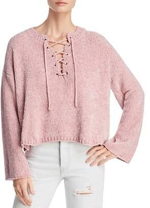 Sadie & Sage Cropped Lace-Up Sweater