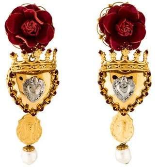 Dolce & Gabbana Rose Crown Drop Earrings