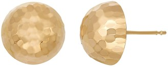 14k Gold Hammered Dome Stud Earrings