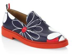 Thom Browne Floral Print Leather Loafers
