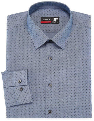 Jf J.Ferrar Easy Care Stretch Big And Tall Long Sleeve Broadcloth Dots Dress Shirt