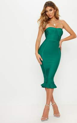 PrettyLittleThing Green Bandage Frill Hem Midi Dress
