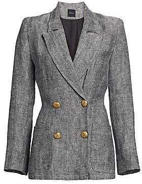 Smythe Women's Linen Double-Breasted Herringbone Blazer