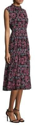 Kate Spade Tapestry Silk Chiffon Midi Dress