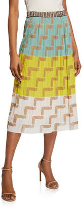 M Missoni Colorblock Midi Skirt w/ L-Stitch Detail