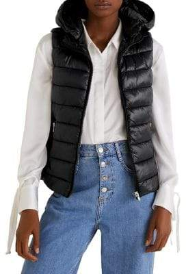 MANGO Quilted Full-Zip Hooded Vest