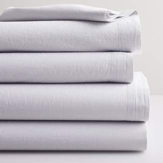 west elm Organic Cotton Mini Check Sheet Set - Platinum/White