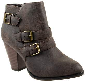 Forever Shoes Women's Camila-64 Brown Leather PU Ankle Booties Strappy Upper with High Chunky Block Heel 8 D(M) US