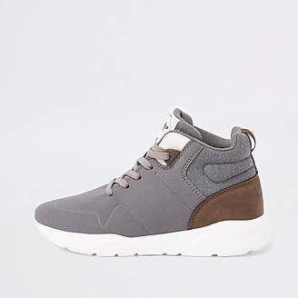 River Island Boys grey hi-top runner sneakers