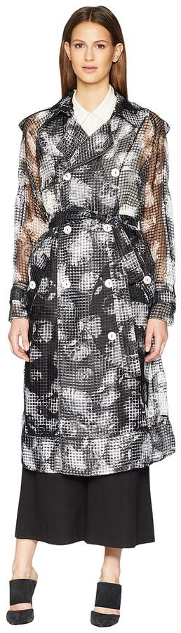 Sonia Rykiel Manteau Oyster Painterly Light Trench Women's Coat