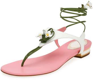 Rene Caovilla Flower-Tie Flat Thong Sandals