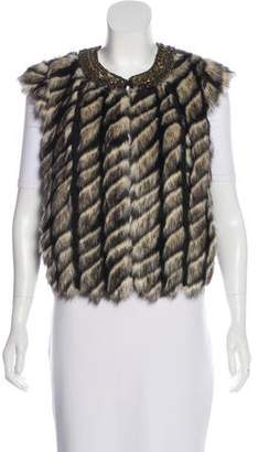 Twelfth Street By Cynthia Vincent Faux Fur-Paneled Chain-Link Vest
