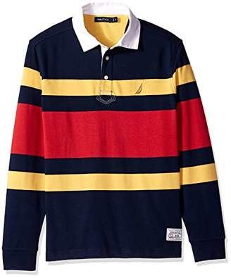 Nautica Men's Striped Heavy Weight Jersey Long Sleeve Polo Shirt