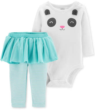 Carter's Carter Baby Girls 2-Pc. Cotton Panda Bodysuit & Tutu Leggings Set