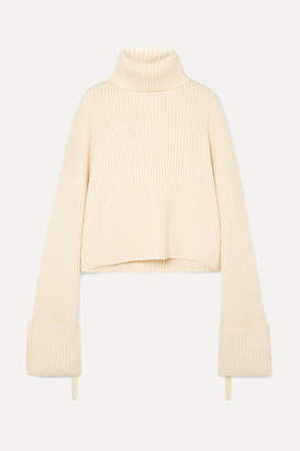 SOLACE London Nosara Ribbed Wool Turtleneck Sweater - Cream 3a67153ba