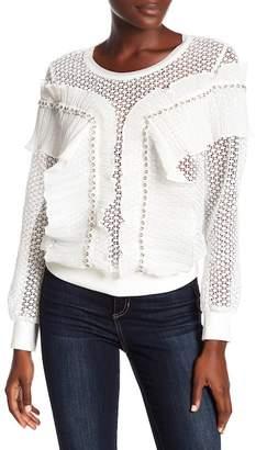 ALLISON NEW YORK Crochet Knit Pleat Ruffle Trim Sweatshirt