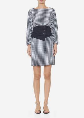 Tibi Viscose Gingham Boatneck Dress with Removable Corset