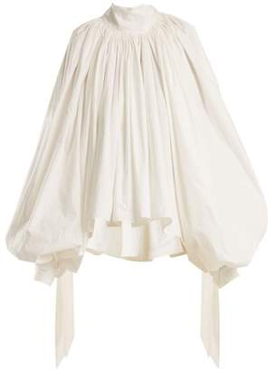 Awake Oversized Puff Sleeved Cotton Top - Womens - White