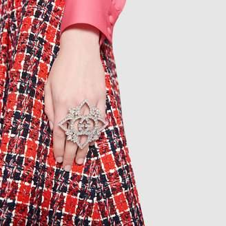 Gucci Crystal Interlocking G flower multi-finger ring