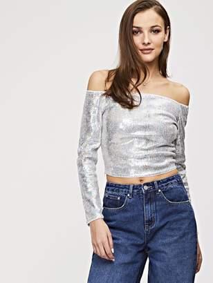 fa0e0e4291 Long Sleeved Sequin Crop Top - ShopStyle