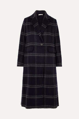 Vince Shadow Checked Wool-blend Coat - Navy