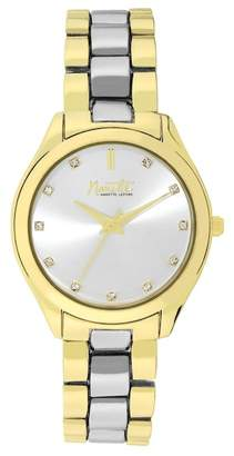 Nanette Lepore NANETTE Women's Wind-Up Two-Tone Crystal Bracelet Watch, 34mm