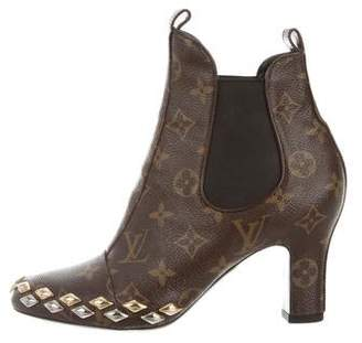 Louis Vuitton Embellished Monogram Ankle Boots